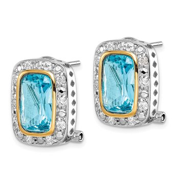 Sterling Silver Flash Gold-Plated CZ Omega Back Earrings