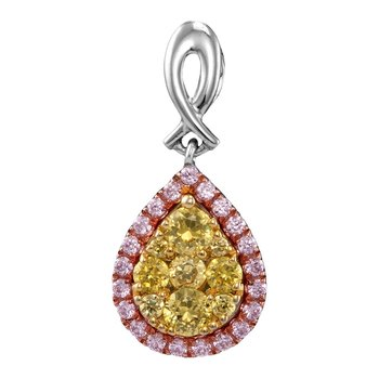 14kt White Gold Womens Round Yellow Pink Diamond Teardrop Cluster Pendant 1/2 Cttw
