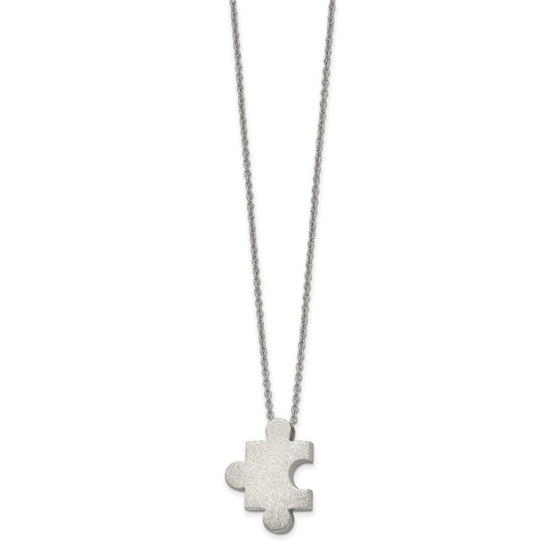 Chisel Stainless Steel Brushed Puzzle Piece 16in w/2.75in ext. Necklace