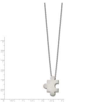 Stainless Steel Brushed Puzzle Piece 16in w/2.75in ext. Necklace