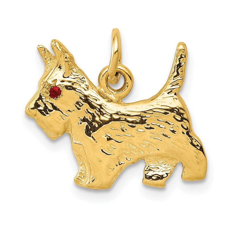 Quality Gold 14k Ruby Eye Scottie Dog Charm
