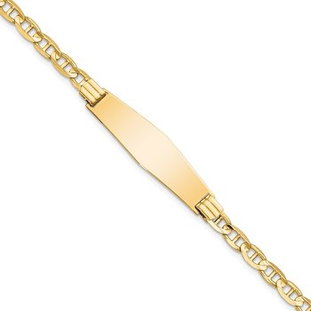14k Anchor Link Soft Diamond Shape ID Bracelet