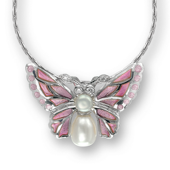 Sterling Silver Butterfly Necklace-Pink. Diamonds and Pearls