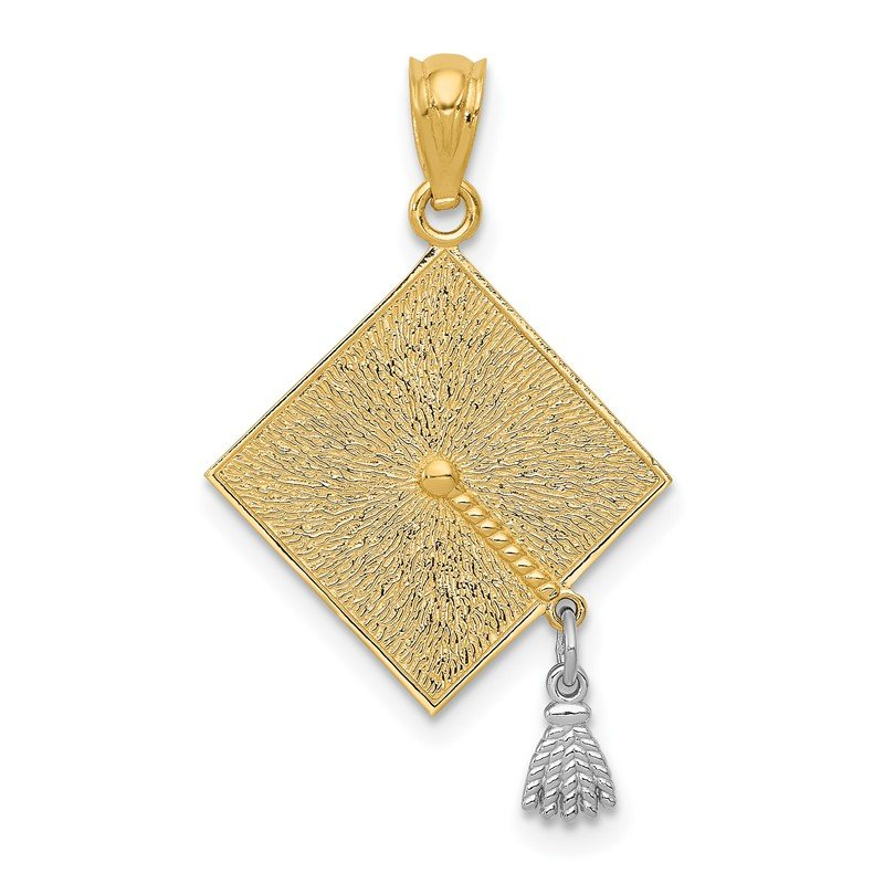 Quality Gold 14k Two-tone 3-D Graduation Cap w/Moveable Tassel Pendant