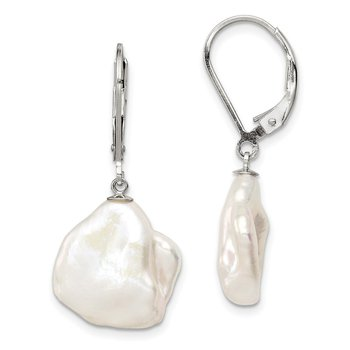 Sterling Silver RH 13-15mm White Keshi Freshwater Cultured Pearl Earrings