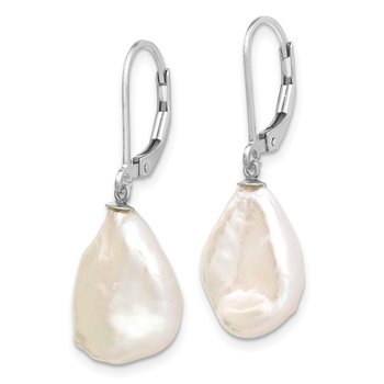 Sterling Silver Rhodium-plated 13-15mm White Keshi FWC Pearl Earrings
