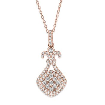 Diamond Fashion Necklace in 14K Rose Gold with 77 Diamonds Weighing  .45ct tw