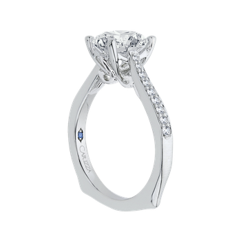 18K White Gold Round Diamond Solitaire with Accents Engagement Ring (Semi-Mount)