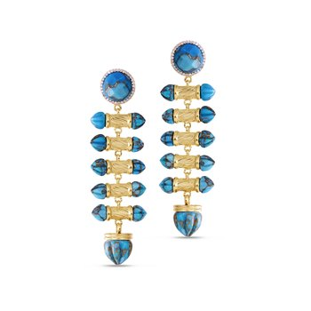 LuvMyJewelry Twisted Rays Turquoise & Diamond Dangle Earrings in Sterling Silver & 14 KT Yellow Gold Plating