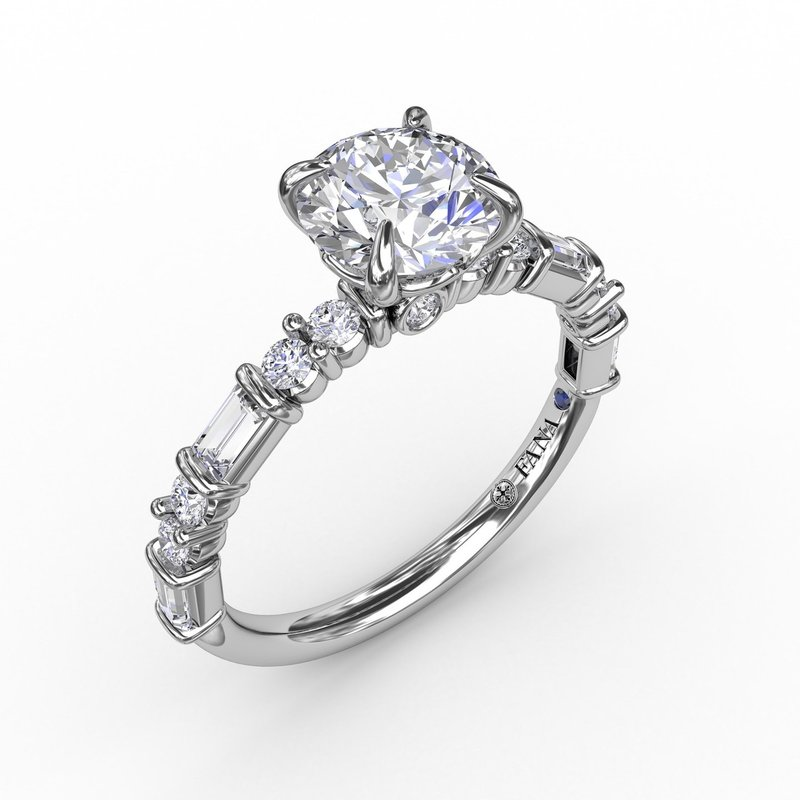 Fana Contemporary Diamond Solitaire Engagement Ring With Baguettes and Round Diamond Accents