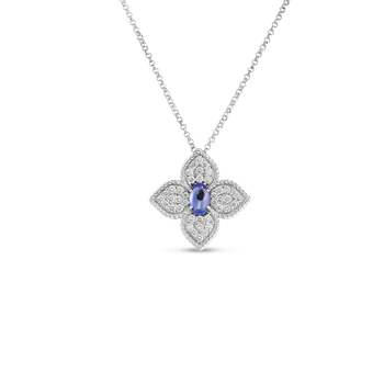 18K DIAMOND & TANZANITE FLOWER PENDANT
