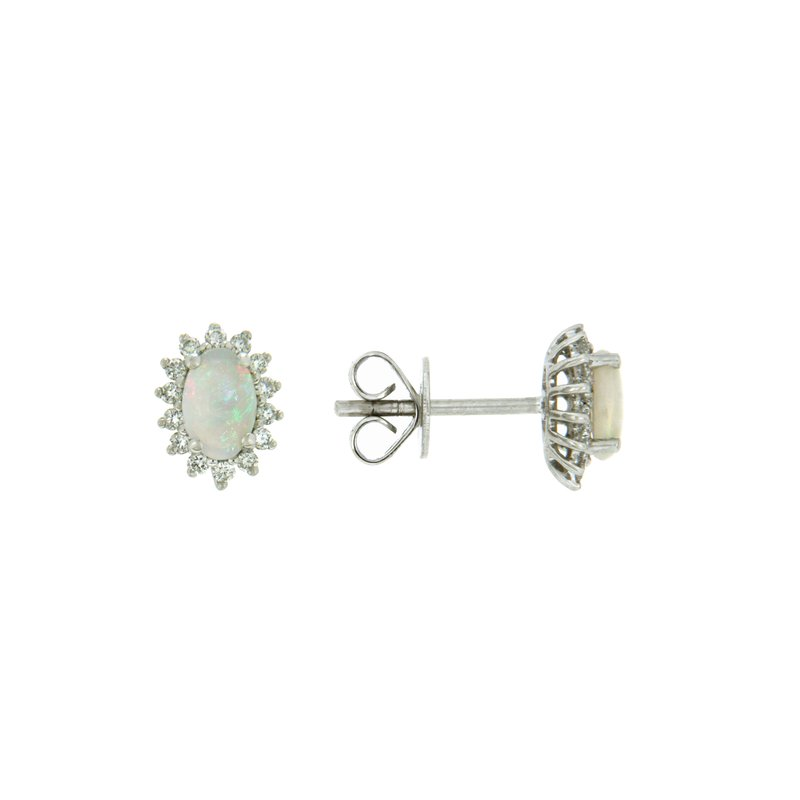 Paragon Fine Jewellery 14k White Gold Earrings with Opal & Diamond