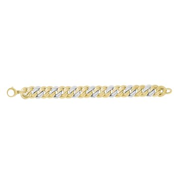 14K Two-tone Gold Full Coverage Interlocking Heritage Link Bracelet