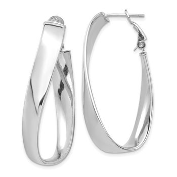 14k White Gold Polished 7mm Twisted Omega Back Oval Hoop Earrings