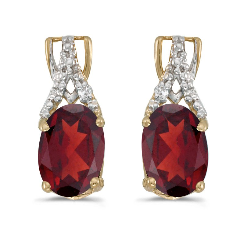 Color Merchants 14k Yellow Gold Oval Garnet And Diamond Earrings