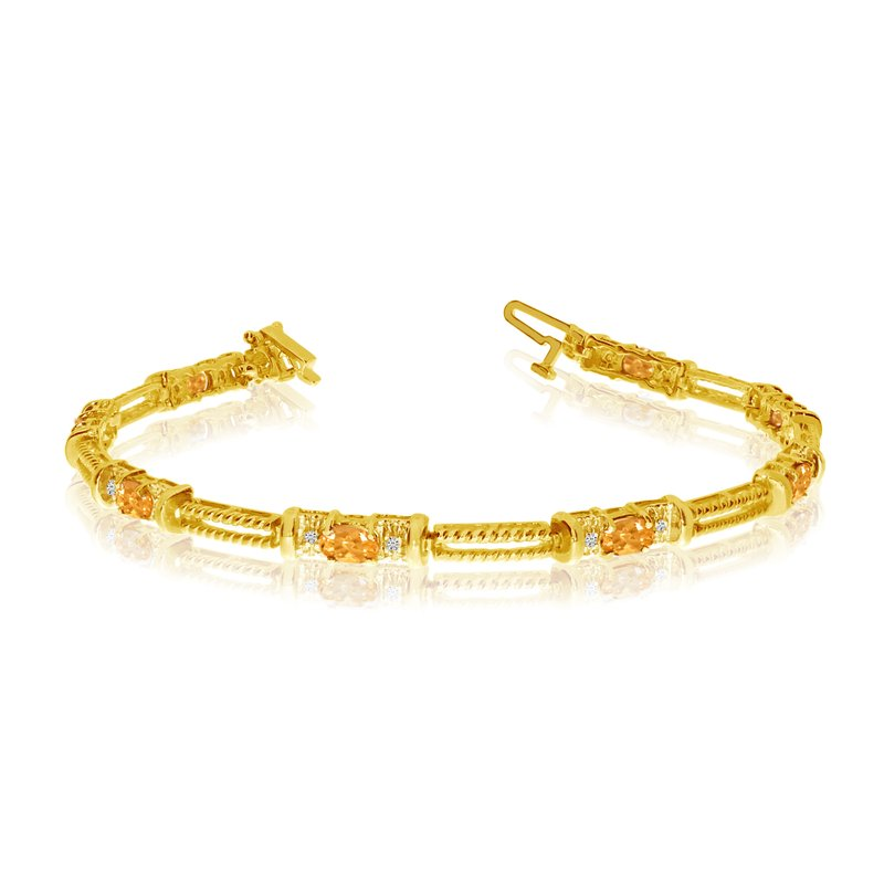 Color Merchants 10k Yellow Gold Natural Citrine And Diamond Tennis Bracelet