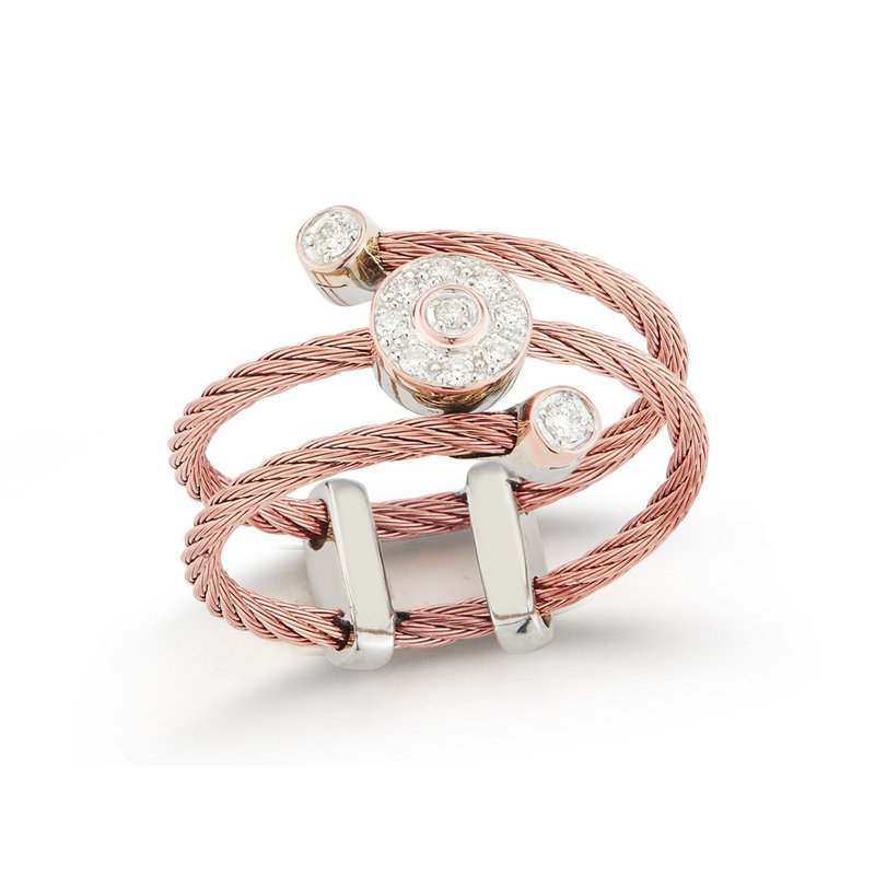 ALOR Rose Cable Flex Ring with Round Diamond Stations set in 18kt White Gold