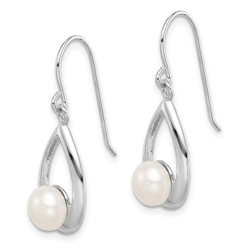 Sterling Silver Rhod-plat 6-7mm White Button FWC Pearl Dangle Earrings