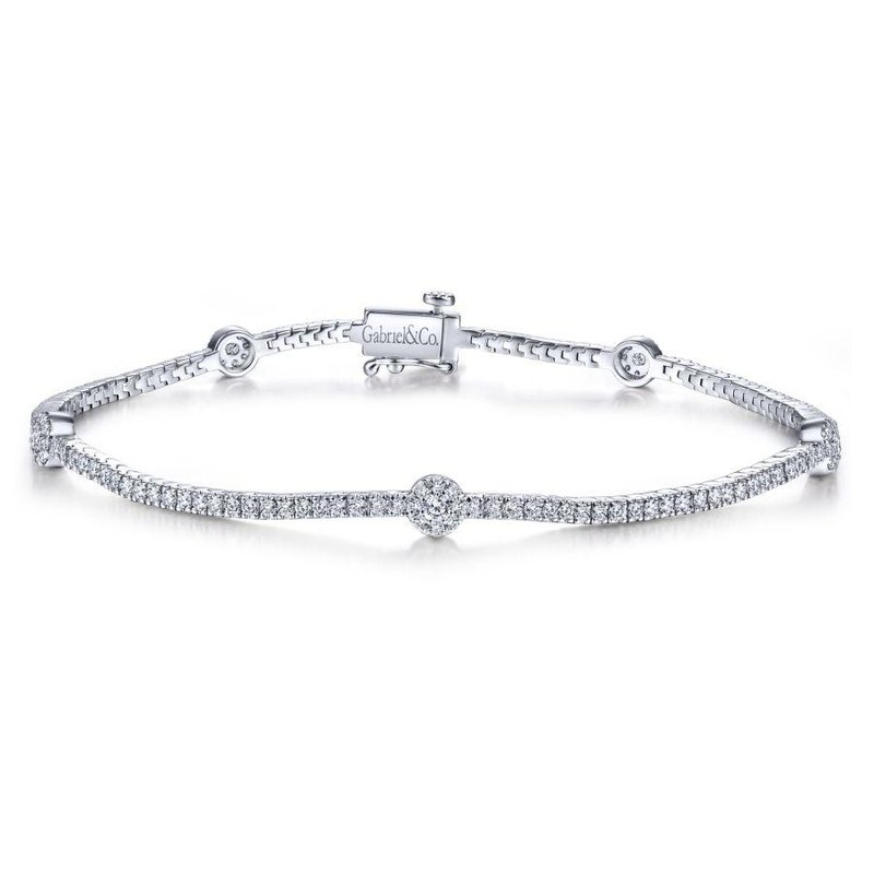 Gabriel Fashion 14K White Gold Diamond Tennis Bracelet with Round Cluster Stations