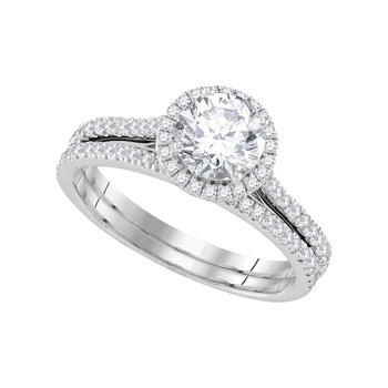 14kt White Gold Womens Round Diamond Halo Bridal Wedding Engagement Ring Band Set 1-1/5 Cttw