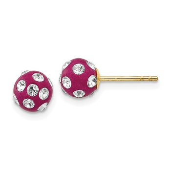 14k Crystal Fuchsia 6mm Post Earrings
