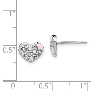 Sterling Silver Rhodium-plated Madi K Enamel w/Swarovski Heart Earrings