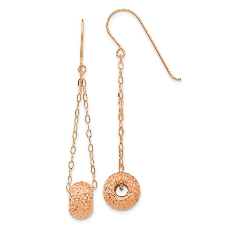 Lester Martin Online Collection 14K Rose Gold Chain w/Diamond-cut Puff Donut Bead Earrings