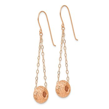 14K Rose Gold Chain w/Diamond-cut Puff Donut Bead Earrings