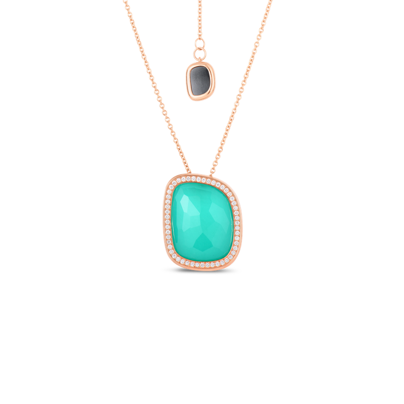 Roberto Coin 18Kt Gold Pendant With Agate, Black Jade And Diamonds
