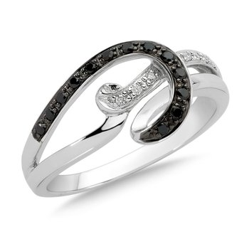 Pave set Black and White Diamond Swirl Fashion Ring in 14k White Gold, (1/7 ct.tw.)