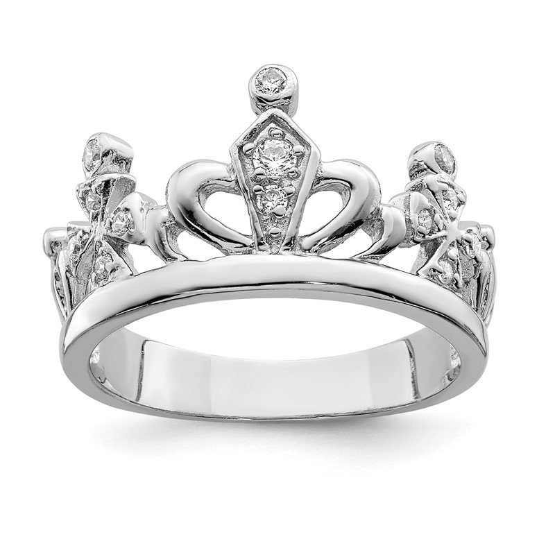 Quality Gold Sterling Silver CZ Crown Ring
