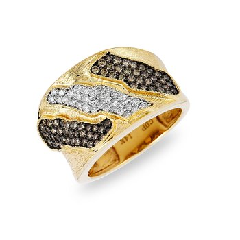14K YG White and Brown Diamond Ring in Pave Setting