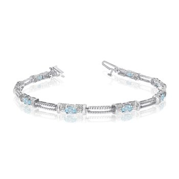 14k White Gold Natural Aquamarine And Diamond Tennis Bracelet