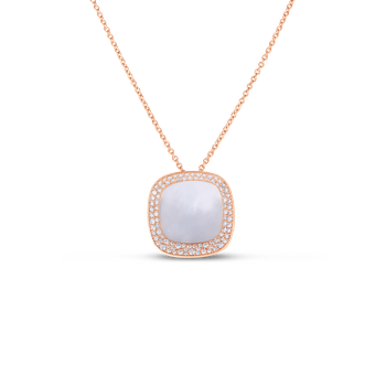 18KT GOLD SMALL PENDANT WITH DIAMONDS AND MOTHER OF PEARL