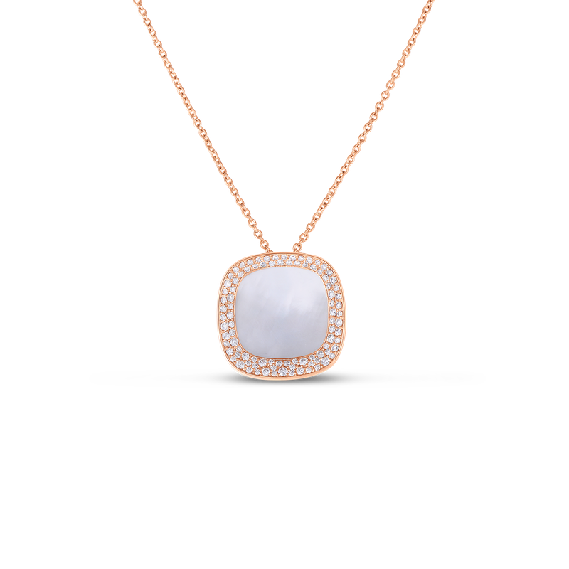Roberto Coin 18Kt Gold Small Pendant With Diamonds And Mother Of Pearl