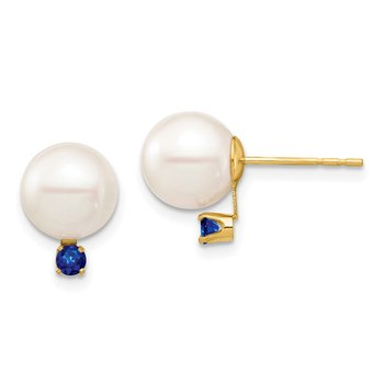 14K 8-8.5mm White Round Freshwater Cultured Pearl Sapphire Post Earrings