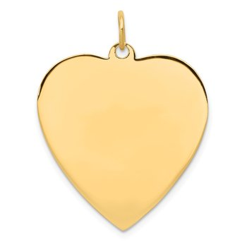 14k Plain .035 Gauge Engravable Heart Disc Charm