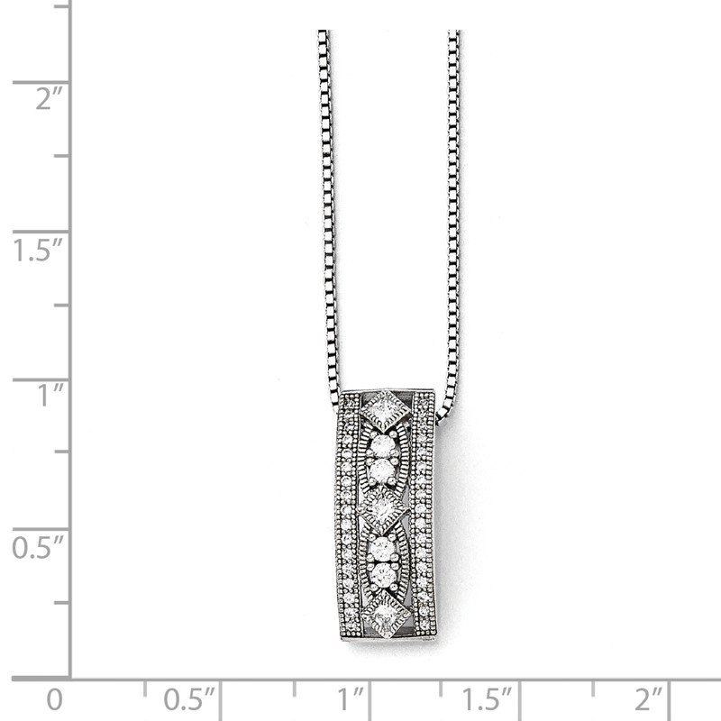 J.F. Kruse Signature Collection SS Rhodium-Plated CZ Brilliant Embers Polished Necklace