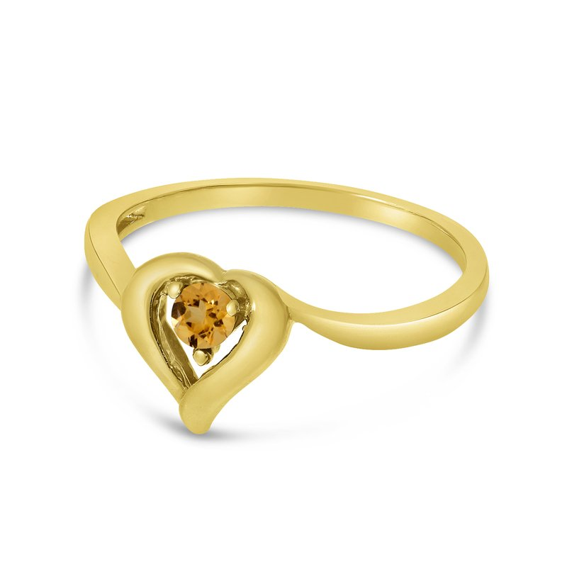 Color Merchants 14k Yellow Gold Round Citrine Heart Ring