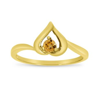 14k Yellow Gold Round Citrine Heart Ring