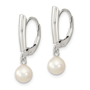 Sterling Silver Rhodium-plated 6-7mm White FWC Pearl Leverback Earrings