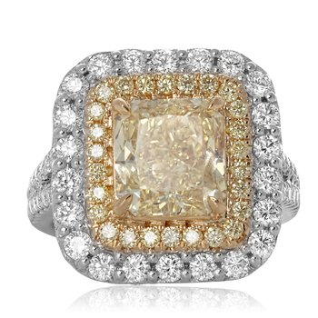 Radiant Fancy Yellow Diamond Ring