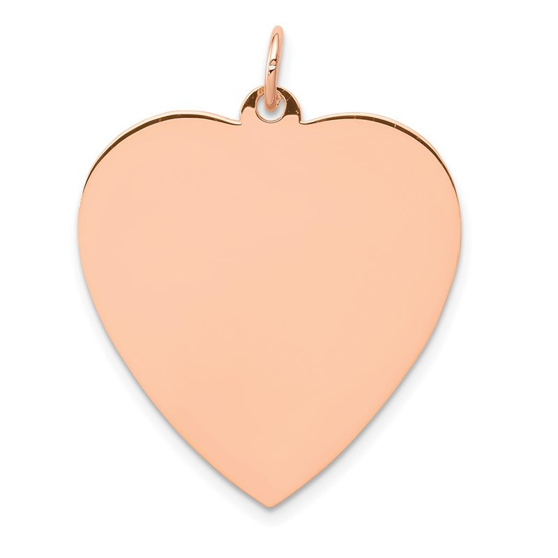 Quality Gold 14K Rose Polished Heart Shaped Disc Pendant