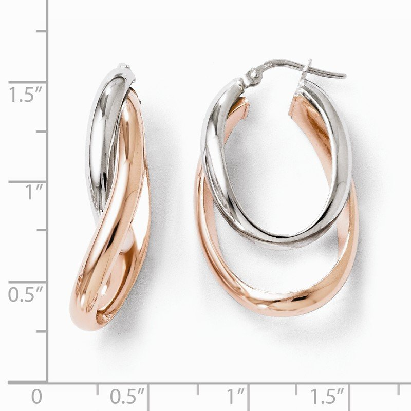 Leslie's Leslie's Sterling Silver Rose Gold-plated Double Oval Hoop Earrings