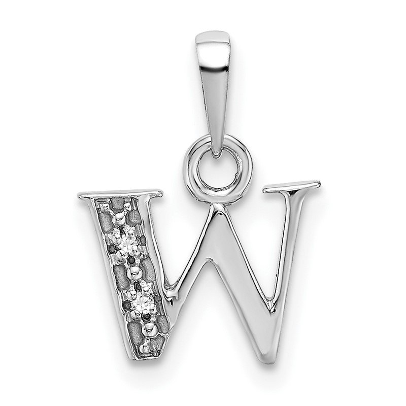 Quality Gold 14KW Rhodium-plated Diamond Letter W Initial Pendant
