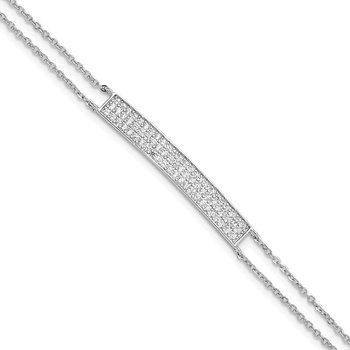Sterling Silver Rhodium-plated CZ Bar Bracelet
