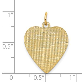 14k Patterned .018 Gauge Engravable Heart Disc Charm