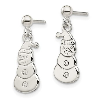 Sterling Silver Polished Snowmen Post Dangle Earrings