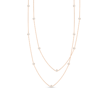 Necklace With 15 Diamond Stations &Ndash; 18K Rose Gold