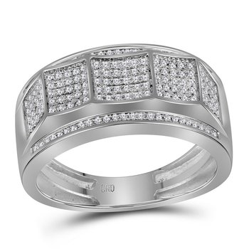 10kt White Gold Mens Round Diamond Scooped Band Ring 1/3 Cttw